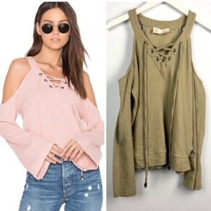 NWT J.O.A. lace up cold shoulder long sleeve top